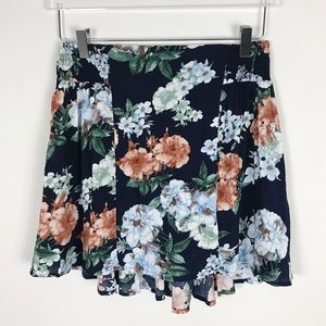 NWT Aakaa Floral Navy Blue Mini Skirt Medium